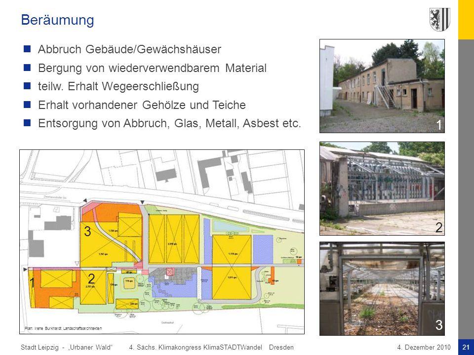 """Stadt Leipzig -21""""Urbaner Wald"""" 4. Sächs. Klimakongress KlimaSTADTWandel Dresden4. Dezember 2010 Beräumung Abbruch Gebäude/Gewächshäuser Bergung von w"""