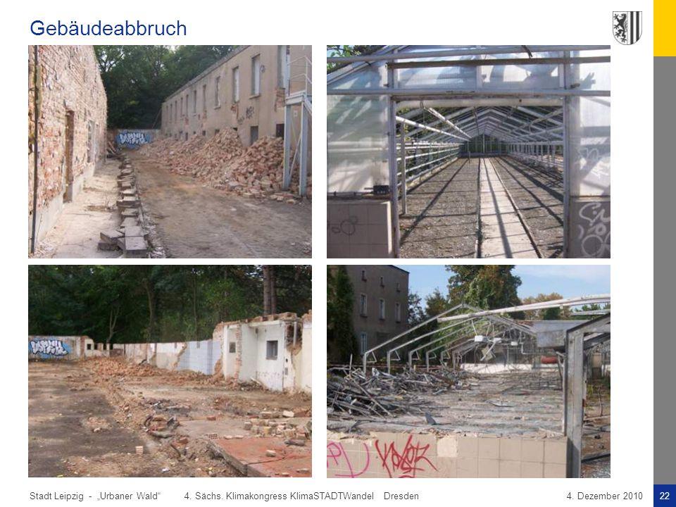 """Stadt Leipzig -22""""Urbaner Wald"""" 4. Sächs. Klimakongress KlimaSTADTWandel Dresden4. Dezember 2010 Gebäudeabbruch"""