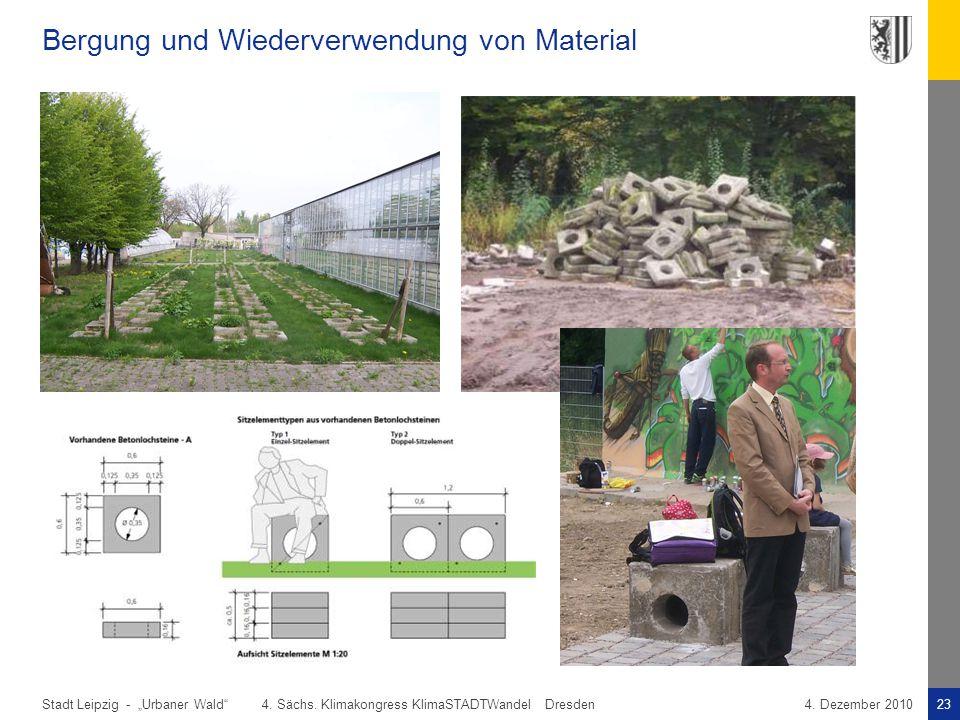 """Stadt Leipzig -23""""Urbaner Wald"""" 4. Sächs. Klimakongress KlimaSTADTWandel Dresden4. Dezember 2010 Bergung und Wiederverwendung von Material"""