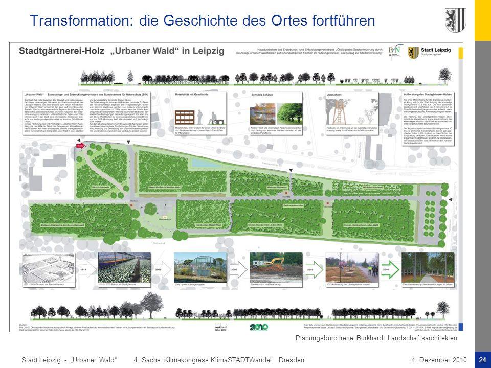 """Stadt Leipzig -24""""Urbaner Wald"""" 4. Sächs. Klimakongress KlimaSTADTWandel Dresden4. Dezember 2010 Transformation: die Geschichte des Ortes fortführen P"""