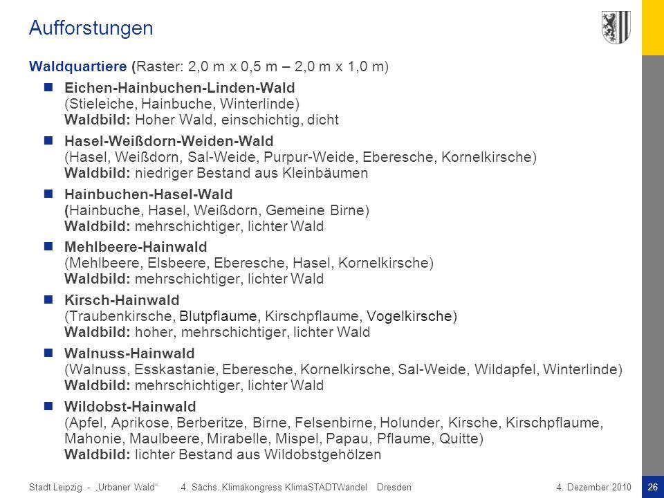 """Stadt Leipzig -26""""Urbaner Wald"""" 4. Sächs. Klimakongress KlimaSTADTWandel Dresden4. Dezember 2010 Aufforstungen Waldquartiere (Raster: 2,0 m x 0,5 m –"""
