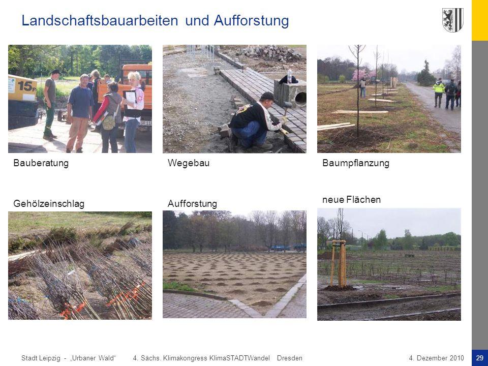 """Stadt Leipzig -29""""Urbaner Wald"""" 4. Sächs. Klimakongress KlimaSTADTWandel Dresden4. Dezember 2010 Landschaftsbauarbeiten und Aufforstung BauberatungWeg"""