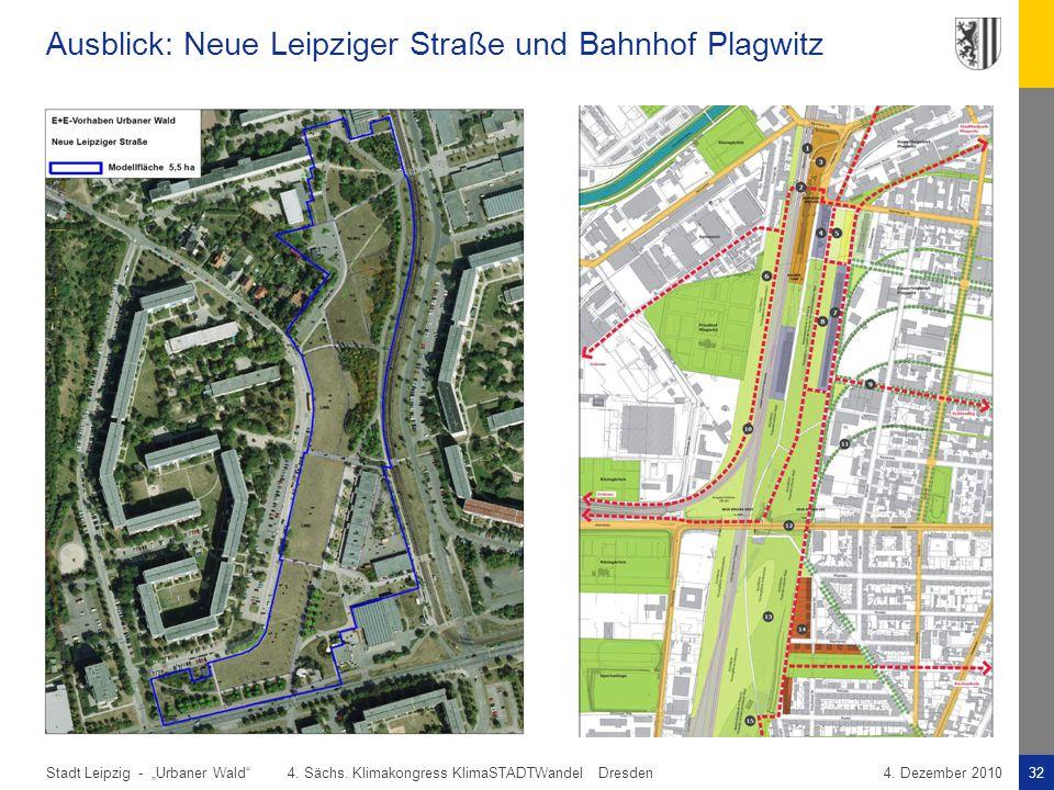 """Stadt Leipzig -32""""Urbaner Wald"""" 4. Sächs. Klimakongress KlimaSTADTWandel Dresden4. Dezember 2010 Ausblick: Neue Leipziger Straße und Bahnhof Plagwitz"""