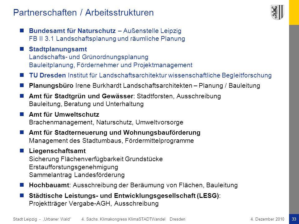 """Stadt Leipzig -33""""Urbaner Wald"""" 4. Sächs. Klimakongress KlimaSTADTWandel Dresden4. Dezember 2010 Partnerschaften / Arbeitsstrukturen Bundesamt für Nat"""
