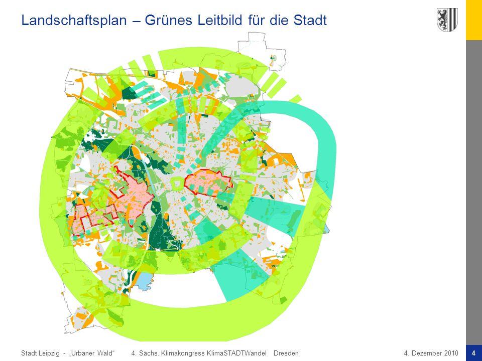 """Stadt Leipzig -4""""Urbaner Wald"""" 4. Sächs. Klimakongress KlimaSTADTWandel Dresden4. Dezember 2010 Landschaftsplan – Grünes Leitbild für die Stadt"""
