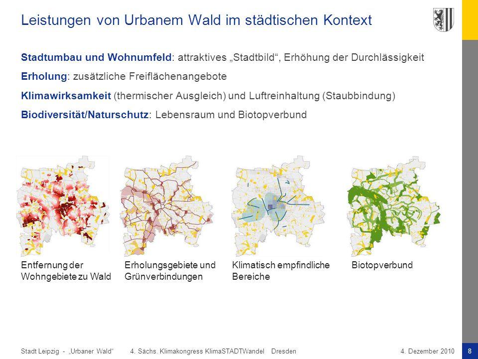 """Stadt Leipzig -8""""Urbaner Wald"""" 4. Sächs. Klimakongress KlimaSTADTWandel Dresden4. Dezember 2010 Leistungen von Urbanem Wald im städtischen Kontext Sta"""