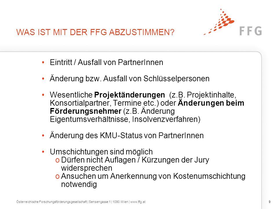 WAS IST MIT DER FFG ABZUSTIMMEN? Eintritt / Ausfall von PartnerInnen Änderung bzw. Ausfall von Schlüsselpersonen Wesentliche Projektänderungen (z.B. P