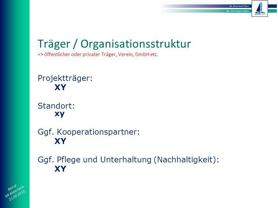 Beirat AR Alsterland 21.09.2010 Projektträger: XY Standort: xy Ggf.