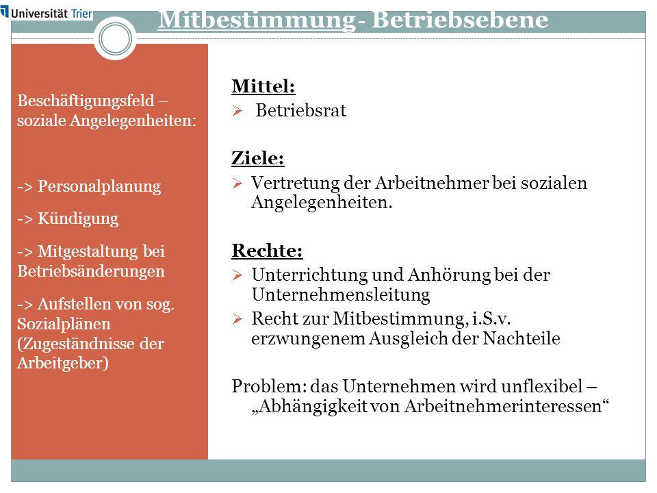 Mitbestimmung - Betriebsebene Beschäftigungsfeld – soziale Angelegenheiten: -> Personalplanung -> Kündigung -> Mitgestaltung bei Betriebsänderungen ->