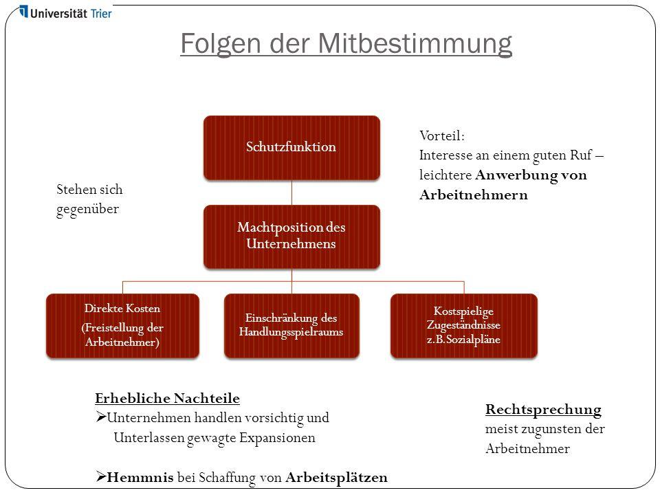 Folgen der Mitbestimmung Schutzfunktion Machtposition des Unternehmens Direkte Kosten (Freistellung der Arbeitnehmer) Einschränkung des Handlungsspiel
