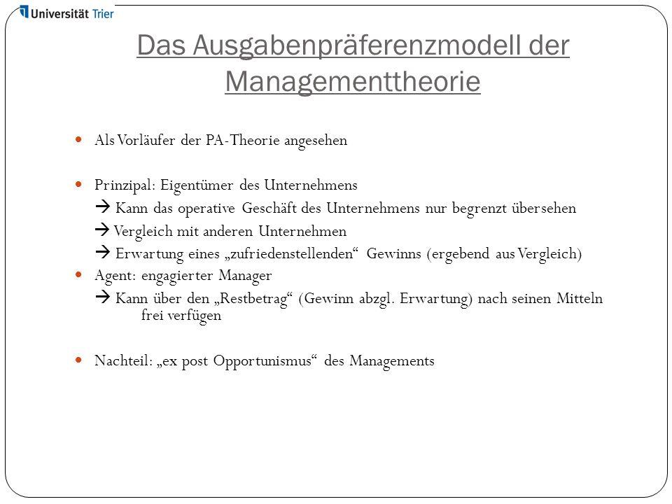 Das Ausgabenpräferenzmodell der Managementtheorie Als Vorläufer der PA-Theorie angesehen Prinzipal: Eigentümer des Unternehmens  Kann das operative G