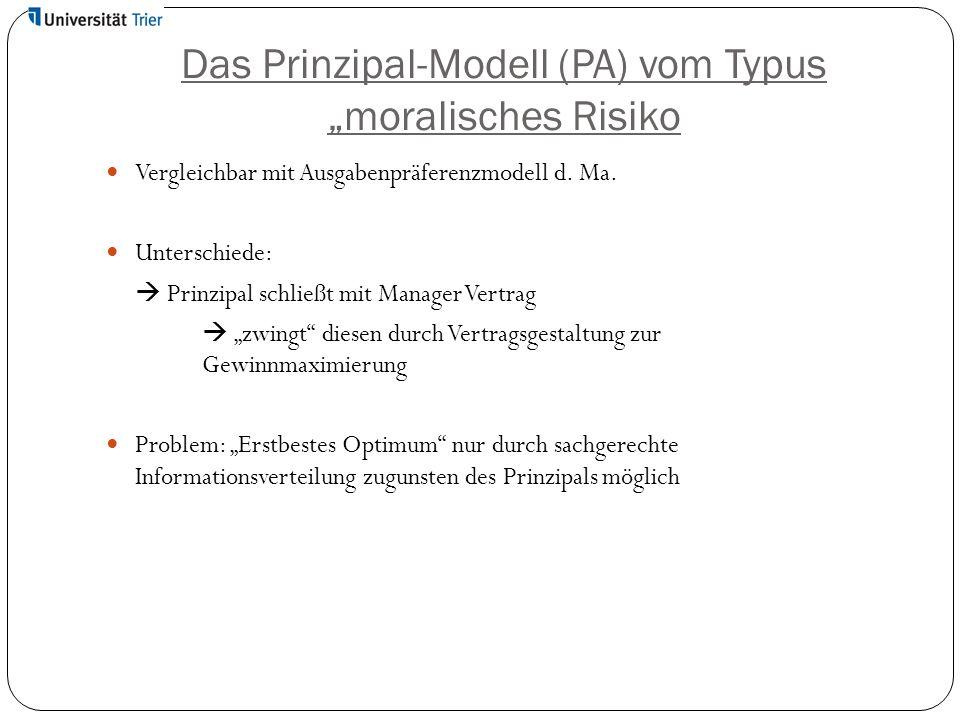 """Das Prinzipal-Modell (PA) vom Typus """"moralisches Risiko Vergleichbar mit Ausgabenpräferenzmodell d. Ma. Unterschiede:  Prinzipal schließt mit Manager"""