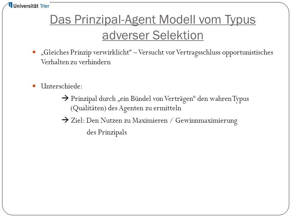 """Das Prinzipal-Agent Modell vom Typus adverser Selektion """"Gleiches Prinzip verwirklicht"""" – Versucht vor Vertragsschluss opportunistisches Verhalten zu"""