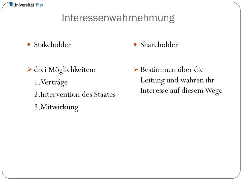 Interessenwahrnehmung Stakeholder  drei Möglichkeiten: 1.Verträge 2.Intervention des Staates 3.Mitwirkung Shareholder  Bestimmen über die Leitung un