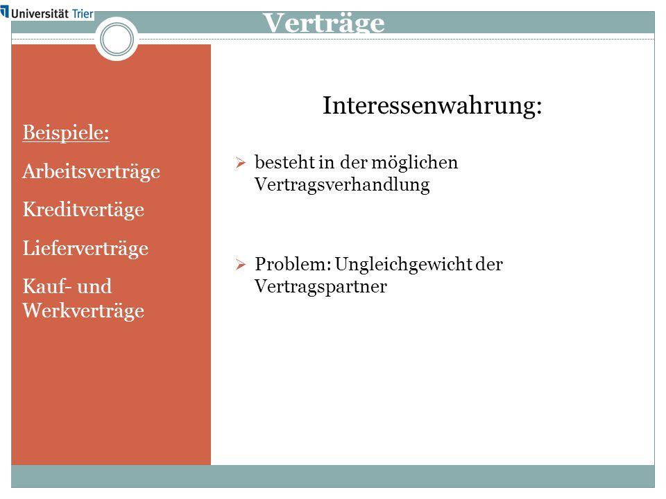 Verträge Beispiele: Arbeitsverträge Kreditvertäge Lieferverträge Kauf- und Werkverträge Interessenwahrung:  besteht in der möglichen Vertragsverhandl