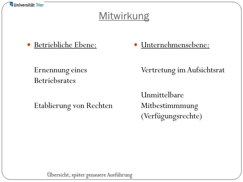 Mitwirkung Betriebliche Ebene: Ernennung eines Betriebsrates Etablierung von Rechten Unternehmensebene: Vertretung im Aufsichtsrat Unmittelbare Mitbes