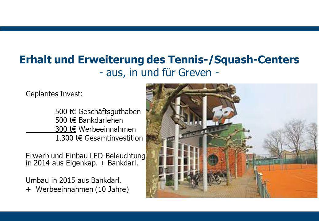 Erhalt und Erweiterung des Tennis-/Squash-Centers - aus, in und für Greven - Geplantes Invest: 500 t€ Geschäftsguthaben 500 t€ Bankdarlehen 300 t€ Werbeeinnahmen 1.300 t€ Gesamtinvestition Erwerb und Einbau LED-Beleuchtung in 2014 aus Eigenkap.