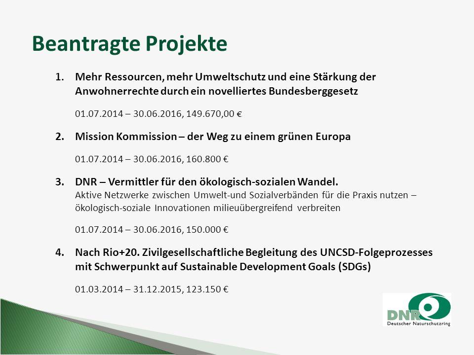 1. Mehr Ressourcen, mehr Umweltschutz und eine Stärkung der Anwohnerrechte durch ein novelliertes Bundesberggesetz 01.07.2014 – 30.06.2016, 149.670,00