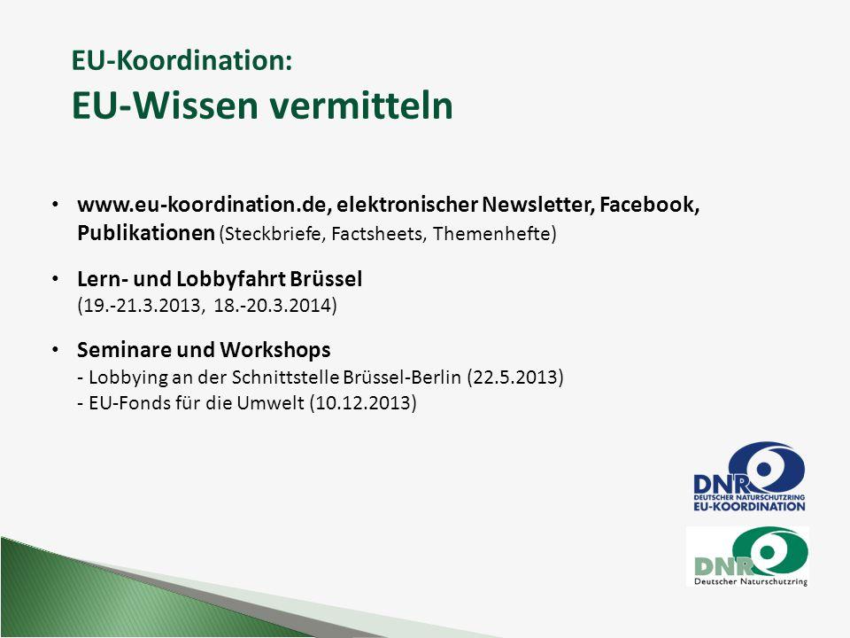 EU-Koordination: EU-Wissen vermitteln www.eu-koordination.de, elektronischer Newsletter, Facebook, Publikationen (Steckbriefe, Factsheets, Themenhefte