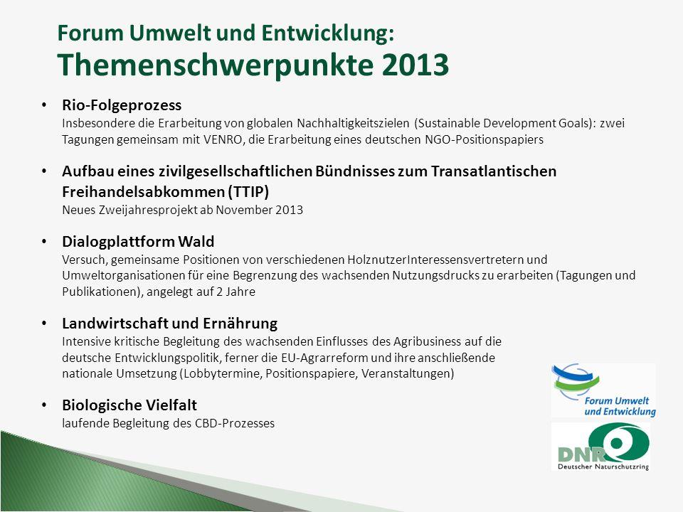 Forum Umwelt und Entwicklung: Themenschwerpunkte 2013 Rio-Folgeprozess Insbesondere die Erarbeitung von globalen Nachhaltigkeitszielen (Sustainable De
