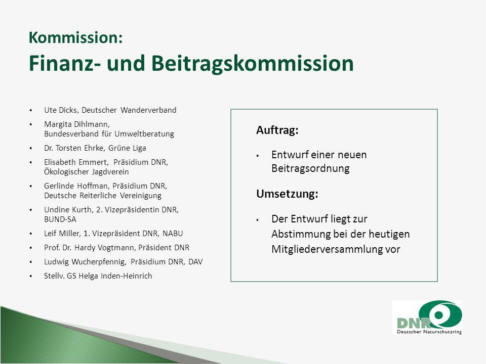 Kommission: Finanz- und Beitragskommission Auftrag: Entwurf einer neuen Beitragsordnung Umsetzung: Der Entwurf liegt zur Abstimmung bei der heutigen M