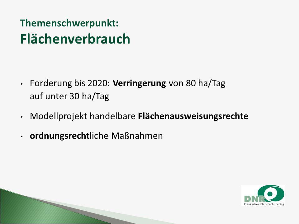 Themenschwerpunkt: Flächenverbrauch Forderung bis 2020: Verringerung von 80 ha/Tag auf unter 30 ha/Tag Modellprojekt handelbare Flächenausweisungsrech