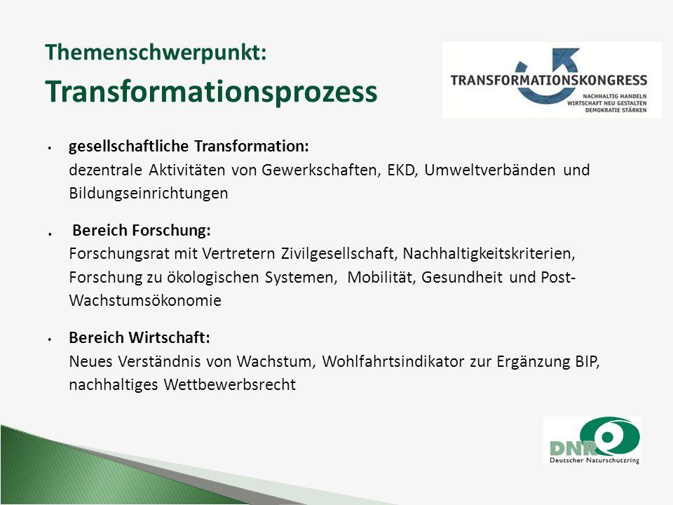 Themenschwerpunkt: Transformationsprozess gesellschaftliche Transformation: dezentrale Aktivitäten von Gewerkschaften, EKD, Umweltverbänden und Bildun