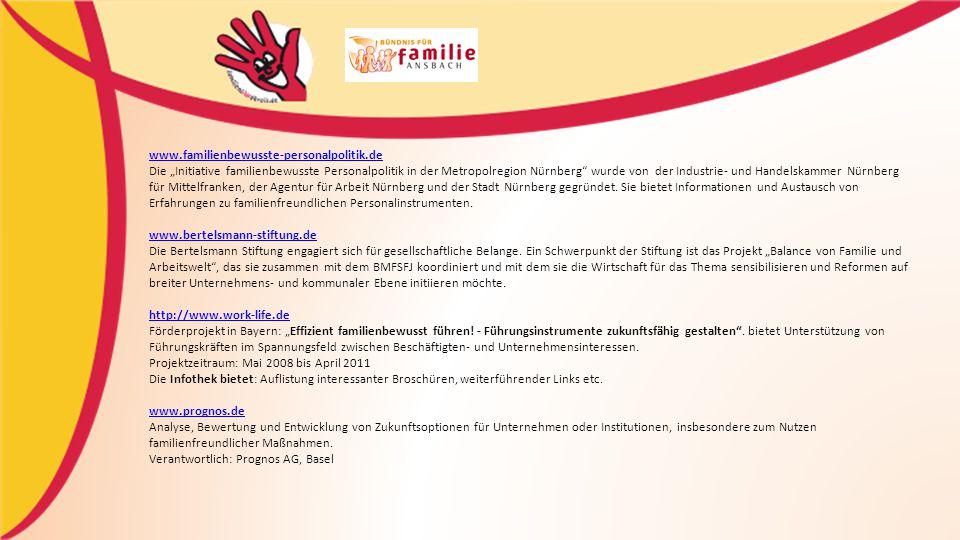 """www.familienbewusste-personalpolitik.de www.familienbewusste-personalpolitik.de Die """"Initiative familienbewusste Personalpolitik in der Metropolregion Nürnberg wurde von der Industrie- und Handelskammer Nürnberg für Mittelfranken, der Agentur für Arbeit Nürnberg und der Stadt Nürnberg gegründet."""