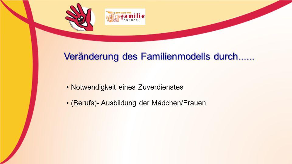 Notwendigkeit eines Zuverdienstes (Berufs)- Ausbildung der Mädchen/Frauen Veränderung des Familienmodells durch......