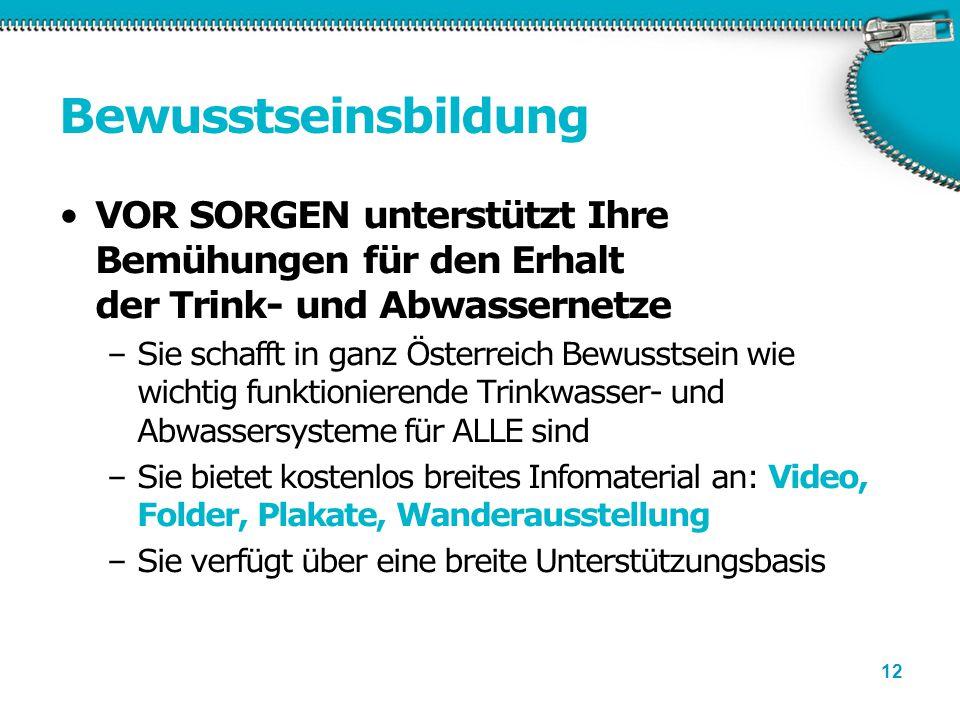 12 Bewusstseinsbildung VOR SORGEN unterstützt Ihre Bemühungen für den Erhalt der Trink- und Abwassernetze –Sie schafft in ganz Österreich Bewusstsein