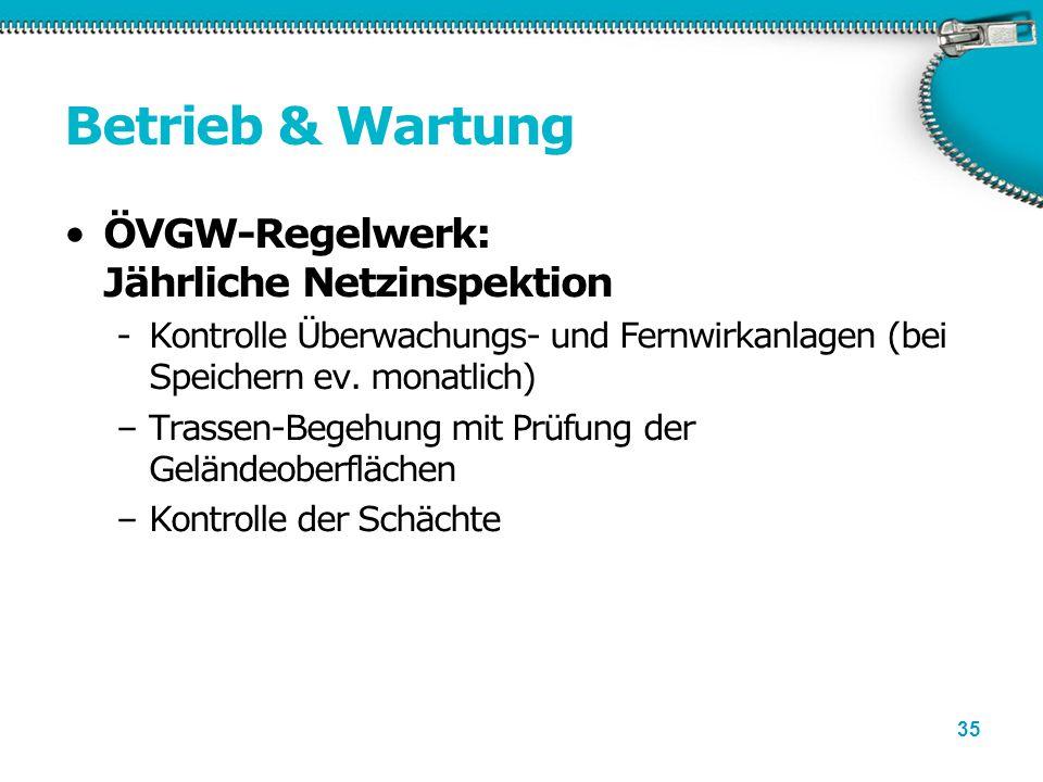 35 Betrieb & Wartung ÖVGW-Regelwerk: Jährliche Netzinspektion -Kontrolle Überwachungs- und Fernwirkanlagen (bei Speichern ev. monatlich) –Trassen-Bege
