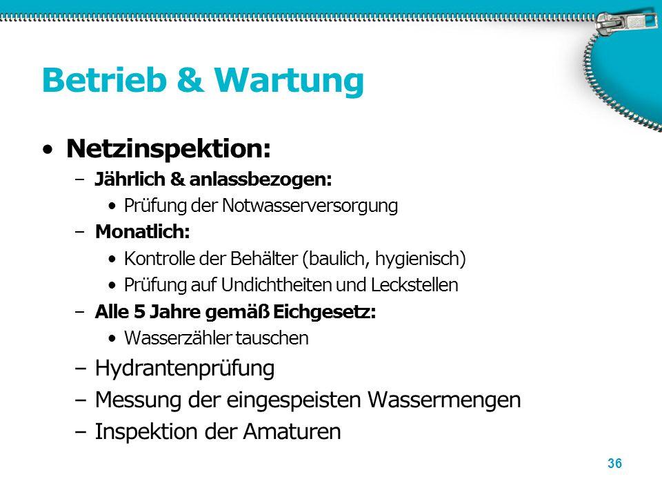 36 Betrieb & Wartung Netzinspektion: –Jährlich & anlassbezogen: Prüfung der Notwasserversorgung –Monatlich: Kontrolle der Behälter (baulich, hygienisc