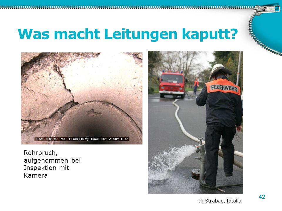 42 Was macht Leitungen kaputt? © Strabag, fotolia Rohrbruch, aufgenommen bei Inspektion mit Kamera