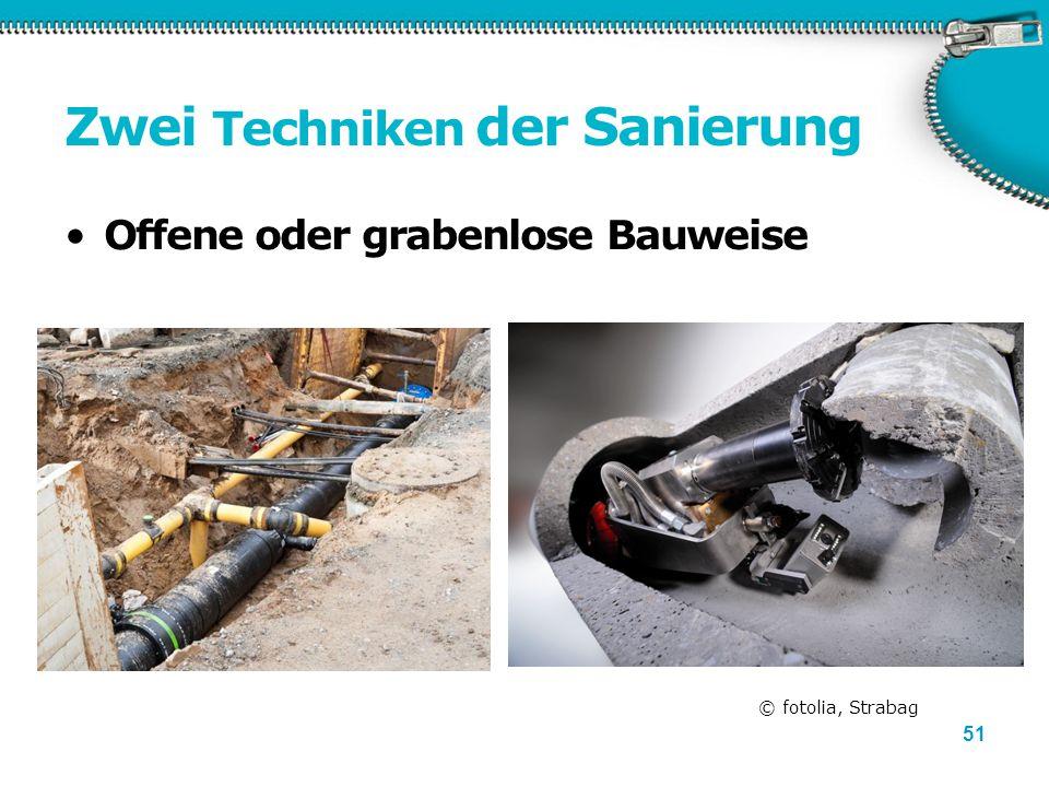 51 Zwei Techniken der Sanierung Offene oder grabenlose Bauweise © fotolia, Strabag