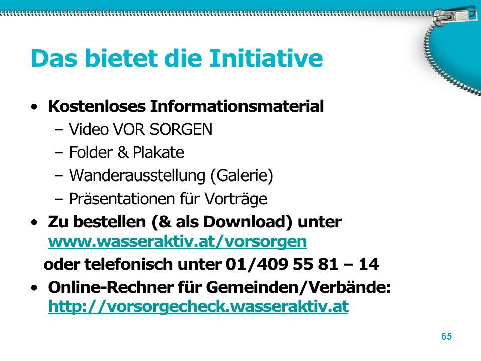 65 Das bietet die Initiative Kostenloses Informationsmaterial –Video VOR SORGEN –Folder & Plakate –Wanderausstellung (Galerie) –Präsentationen für Vor