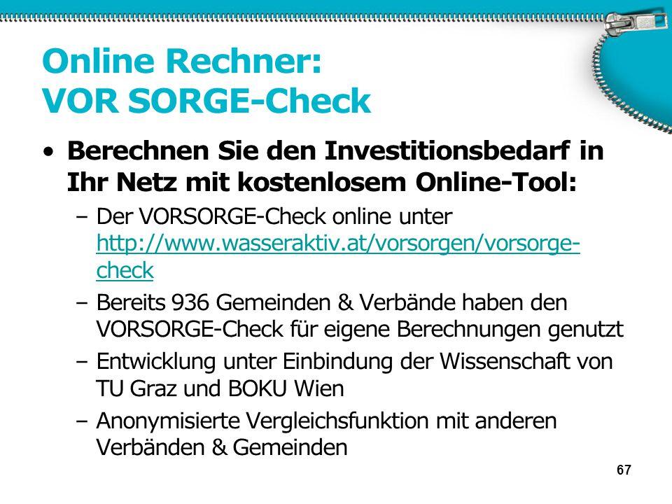 Online Rechner: VOR SORGE-Check Berechnen Sie den Investitionsbedarf in Ihr Netz mit kostenlosem Online-Tool: –Der VORSORGE-Check online unter http://