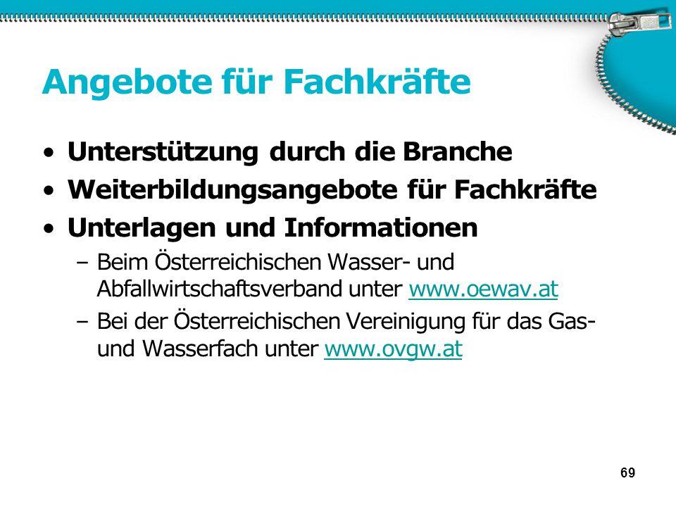 Angebote für Fachkräfte Unterstützung durch die Branche Weiterbildungsangebote für Fachkräfte Unterlagen und Informationen –Beim Österreichischen Wass