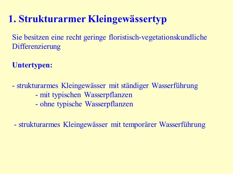 1. Strukturarmer Kleingewässertyp Sie besitzen eine recht geringe floristisch-vegetationskundliche Differenzierung Untertypen: - strukturarmes Kleinge