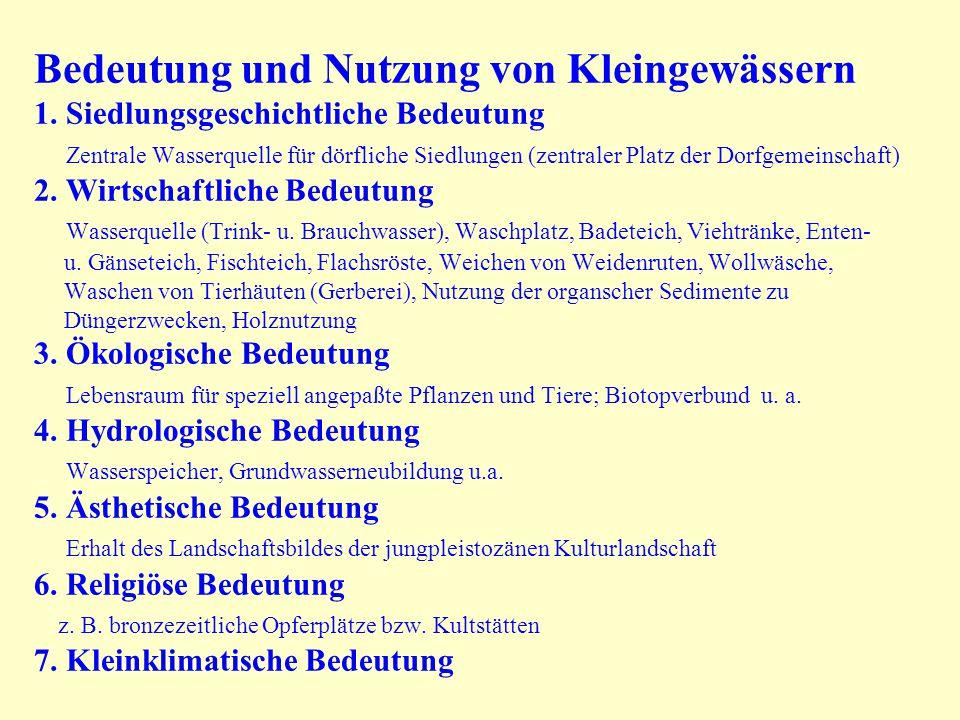 Bedeutung und Nutzung von Kleingewässern 1. Siedlungsgeschichtliche Bedeutung Zentrale Wasserquelle für dörfliche Siedlungen (zentraler Platz der Dorf