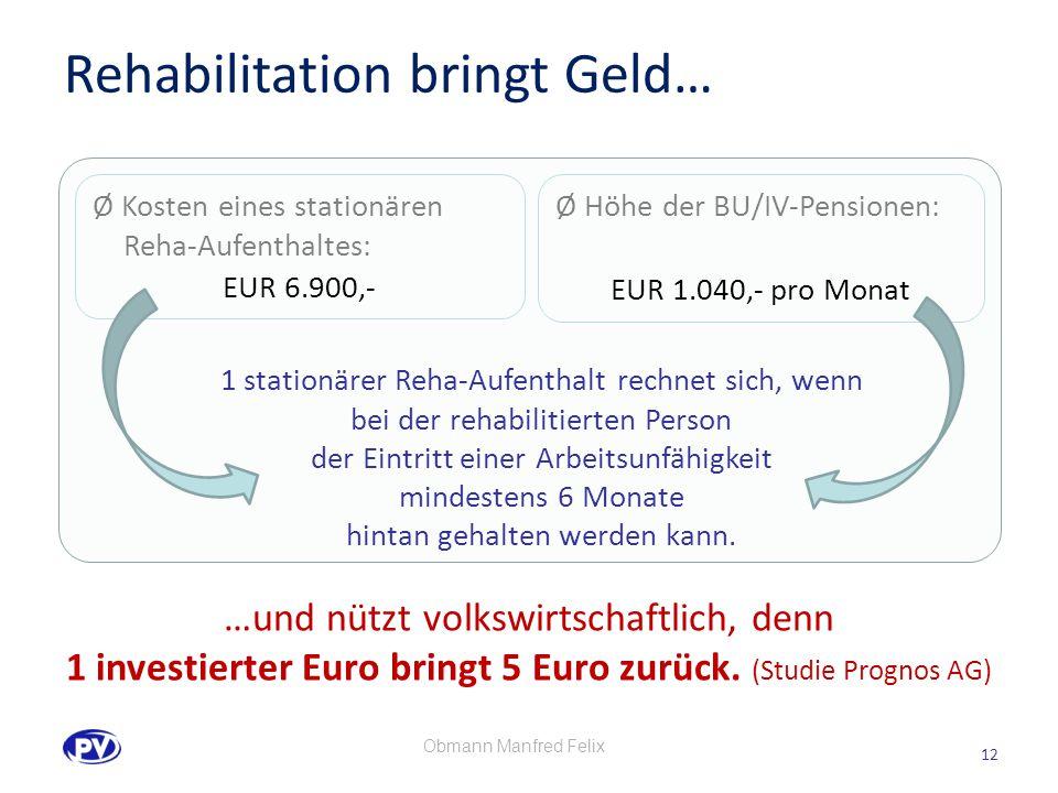 12 Ø Kosten eines stationären Reha-Aufenthaltes: EUR 6.900,- Ø Höhe der BU/IV-Pensionen: EUR 1.040,- pro Monat 1 stationärer Reha-Aufenthalt rechnet sich, wenn bei der rehabilitierten Person der Eintritt einer Arbeitsunfähigkeit mindestens 6 Monate hintan gehalten werden kann.