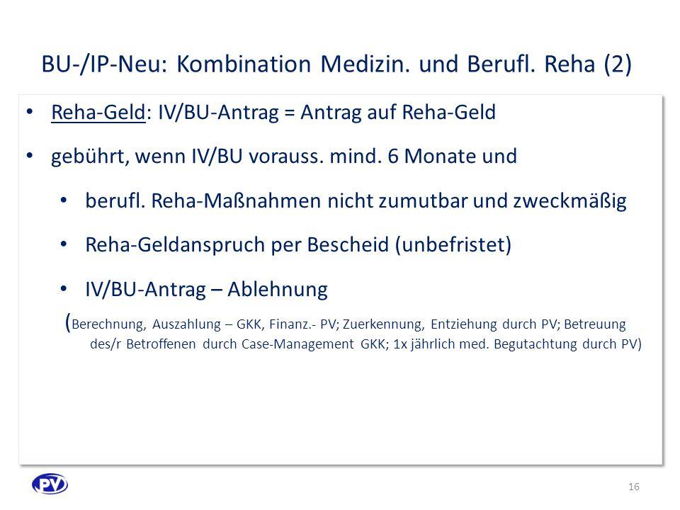 BU-/IP-Neu: Kombination Medizin.und Berufl.