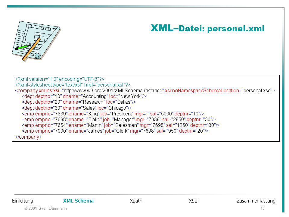 © 2001 Sven Dammann13 XML– Datei: personal.xml Einleitung XML Schema Xpath XSLT Zusammenfassung