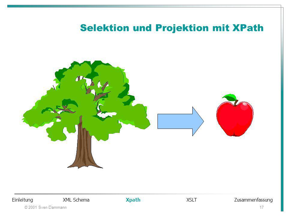 © 2001 Sven Dammann17 Selektion und Projektion mit XPath Einleitung XML Schema Xpath XSLT Zusammenfassung