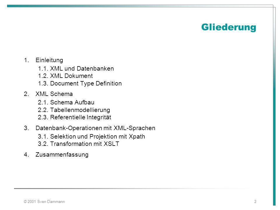 © 2001 Sven Dammann2 Gliederung 1.Einleitung 1.1. XML und Datenbanken 1.2.