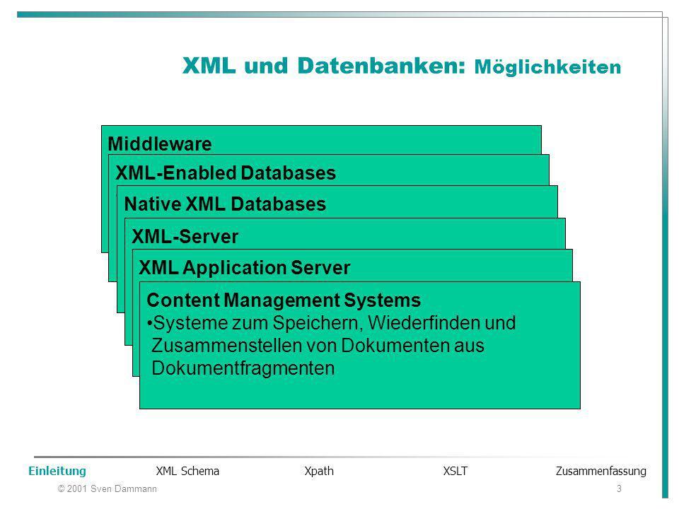 """© 2001 Sven Dammann3 XML und Datenbanken: Möglichkeiten Middleware Software zum Transferieren von Daten zwischen XML-Dokumenten und Datenbanken XML-Enabled Databases Datenbanken mit Erweiterungen, um Daten zwischen XML-Dokumenten und diesen Daten- banken zu transferieren Native XML Databases Datenbanken, die XML-Dokumente in ihrer """"nativen Form speichern (Erhalt der Struktur des XML- Dokuments) XML-Server Plattformen, die Daten in Form von XML-Doku- menten an verteilte Anwendungen senden und von diesen Anwendungen empfangen (e-commerce, B2B-Applikationen) XML Application Server Web Applikationen Server, die XML an Browser verschicken Content Management Systems Systeme zum Speichern, Wiederfinden und Zusammenstellen von Dokumenten aus Dokumentfragmenten Einleitung XML Schema Xpath XSLT Zusammenfassung"""