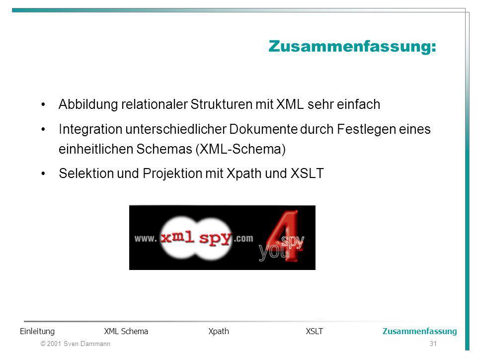 © 2001 Sven Dammann31 Zusammenfassung: Abbildung relationaler Strukturen mit XML sehr einfach Integration unterschiedlicher Dokumente durch Festlegen eines einheitlichen Schemas (XML-Schema) Selektion und Projektion mit Xpath und XSLT Einleitung XML Schema Xpath XSLT Zusammenfassung