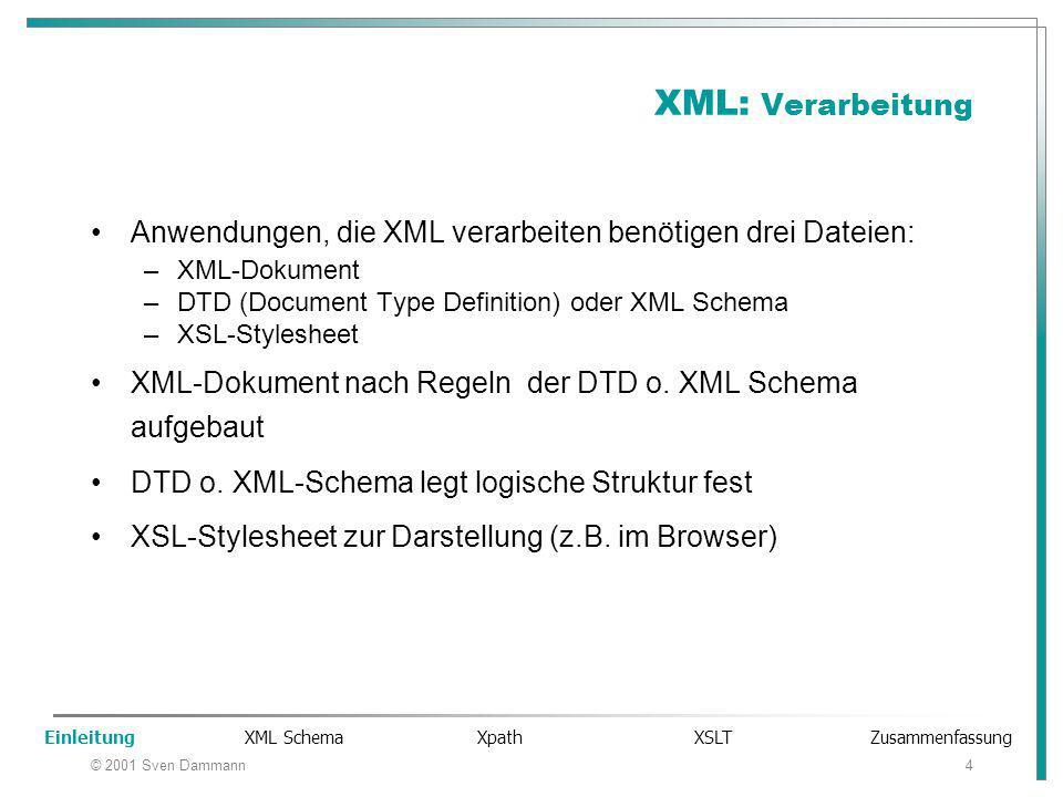 © 2001 Sven Dammann4 XML: Verarbeitung Anwendungen, die XML verarbeiten benötigen drei Dateien: –XML-Dokument –DTD (Document Type Definition) oder XML Schema –XSL-Stylesheet XML-Dokument nach Regeln der DTD o.