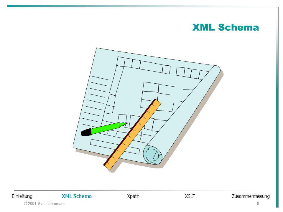 © 2001 Sven Dammann9 XML Schema Einleitung XML Schema Xpath XSLT Zusammenfassung