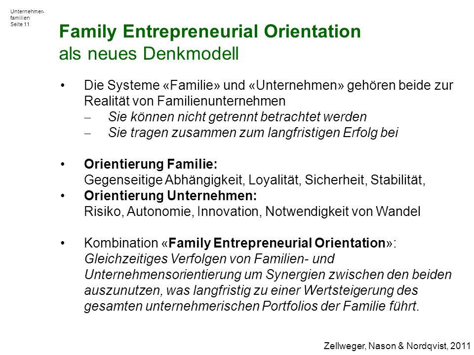 Unternehmer- familien Seite 11 Die Systeme «Familie» und «Unternehmen» gehören beide zur Realität von Familienunternehmen  Sie können nicht getrennt