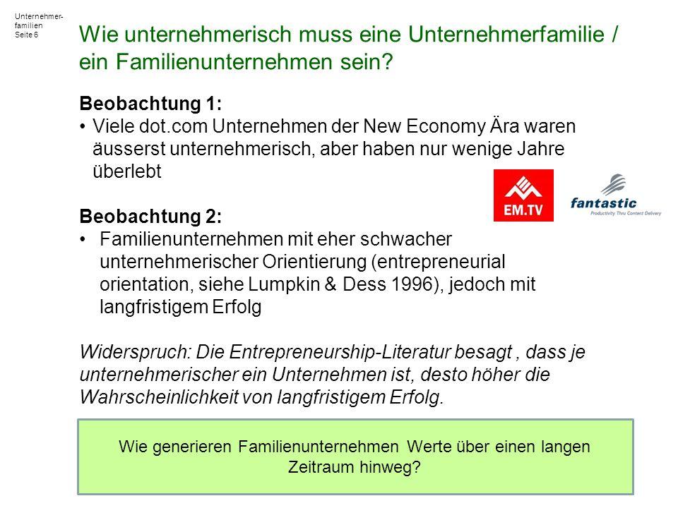 Unternehmer- familien Seite 6 Beobachtung 1: Viele dot.com Unternehmen der New Economy Ära waren äusserst unternehmerisch, aber haben nur wenige Jahre